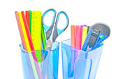 Blue containers with office supplies close-up — Stock Photo