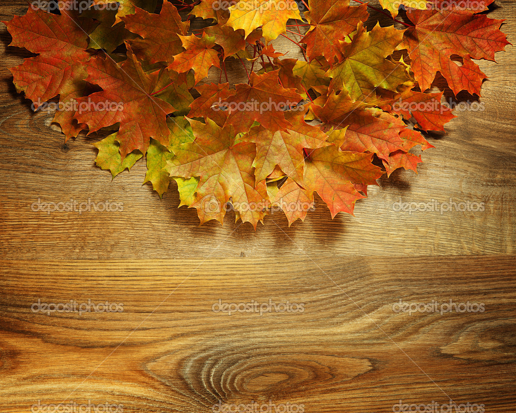 Yellow wet autumn leaves on the background a dark old wood — Stock Photo #12825518