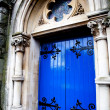 Medieval blue front door — Stock Photo