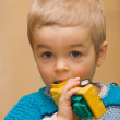 Cute small boy biting his plactic car toy — Stock Photo