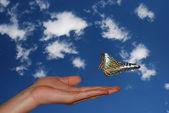 Hand met sky met vlinder links — Stockfoto