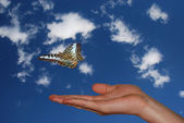 Hand with sky and butterfly — Stock Photo