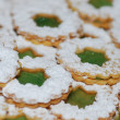 Cookies with green jam — Stock Photo
