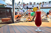 Red coctail on ship — Stock Photo