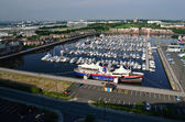 Many boats in port of newcastle — Stock Photo