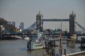 Warship in london — Stock Photo
