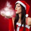 Portrait of beautiful sexy girl wearing santa claus clothes — Stock Photo #14865721