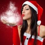 Портрет красивая сексуальная девушка носить одежду Санта-Клауса — Стоковое фото