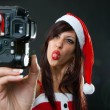Funny Santa Claus Woman with Camera — Stock Photo
