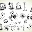 Vector de stock : Halloween drawings collection
