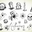 Stock Vector: Halloween drawings collection
