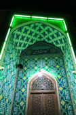Mosque at night with green lights — Stock Photo