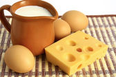 Dairy products and eggs — Stock Photo