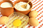 Flour, milk and eggs — Stockfoto