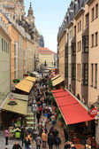Walk along Munzgasse May 1, 2013 in Dresden, Germany — Stock Photo