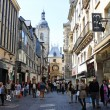Famous Rue de Gros Horloge on May 3, 2013 in Rouen, France. — Stock Photo