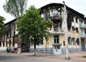 MARIUPOL, UKRAINE - MAY 19, 2014: building of the police Department after a fire. — Stock Photo