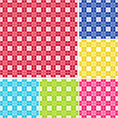 Seamless Gingham, Six colors — Stock Vector