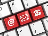 Contact d'ordinateur clavier rouge — Photo