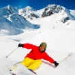 Freeride in fresh powder snow - Stock Photo