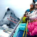 Skiers on ski lift — Stock Photo