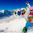 Ski, snow, sun and winter fun - Zdjęcie stockowe