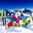 Ski, snow, sun and winter fun — Stock Photo #13621800