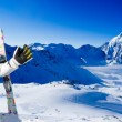 Ski, snow, sun and winter fun — Stock Photo