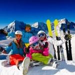 Ski family. — Stock Photo