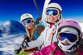 Ski familj. — Stockfoto