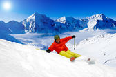 Freeride in fresh powder snow — Stock Photo