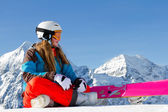 Snowboard, snow, sun and winter fun — Stock Photo