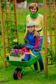 Gardening, planting - girl in barrowl helping father in the gard — Stock Photo
