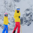 Ski, skier, winter sport - female skiers on ski run — Stock Photo