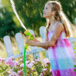 Summer fun, watering flowers - lovely girl has fun watering flow — Stock Photo