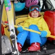 Winter, skiing, journey - girl with ski equipmentin car — Stock Photo