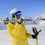 Skier, skiing, winter sport - portrait of female skier — Stock Photo