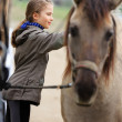Stock Photo: Horse and lovely equestrigirl