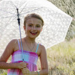 Rain - happy girl with an umbrella in the rain — Stock Photo