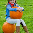 Harvest of pumpkins, autumn in the garden — Stock Photo #31307103