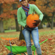 Stock Photo: Autumn in garden - harvest of pumpkins