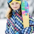 Ski, skier, winter sports - portrait of happy young skier — Stock Photo