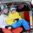 Winter, ski, family journey — Stock Photo