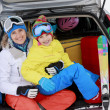 Stock Photo: Winter, ski, family journey