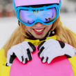 Winter sports - portrait of young snowboarder girl — Stock Photo #31308323
