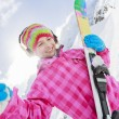 Ski, skier, winter - lovely girl has a fun on ski — Stock Photo