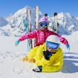 Skiing, winter, snow, sun and fun - family enjoying winter — Stock Photo