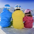 Winter, ski, skiers, snow - family enjoying ski holiday — Stock Photo
