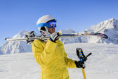 Skier, skiing, winter sport - portrait of female skier — Stock Photo