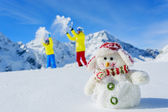 Ski, skier, sun and winter fun — Stock Photo